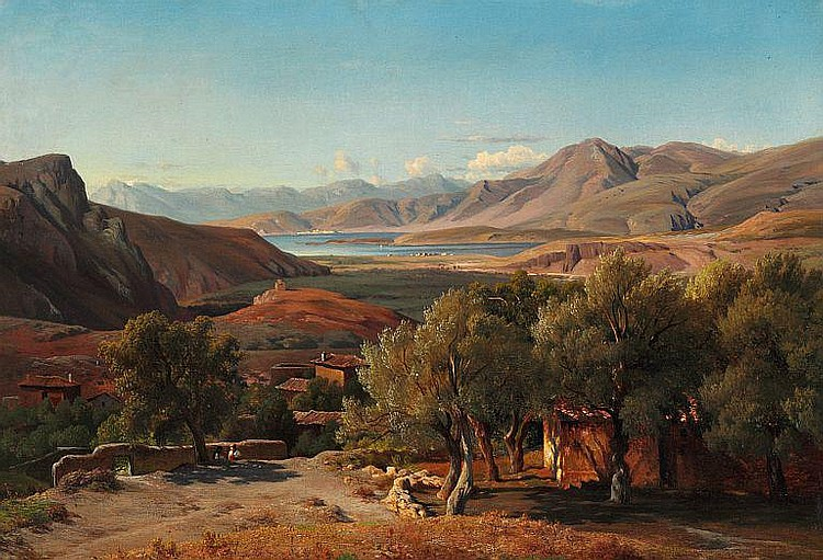 Louis Gurlitt: Italian landscape with houses an old olive trees.