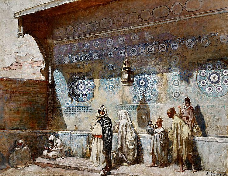 Adolphe Gumery: At a fountain in Meknes, Morocco.