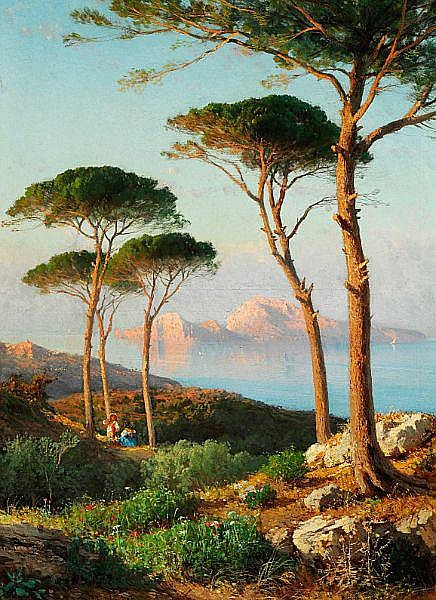 Alessandro La  Volpe: Coastal view with tall pines, Italy.