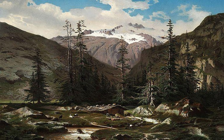 Jean Francois Xavier  Roffiaen: Mountain landscape with goats near a river.