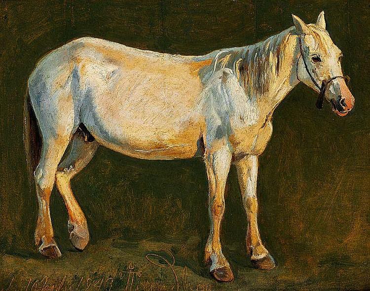 Johan Thomas Lundbye: A stallion.