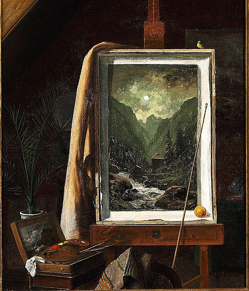 Georg Emil Libert: From the artist's studio, on the easel one of Libert's paintings with a motif from Norway.