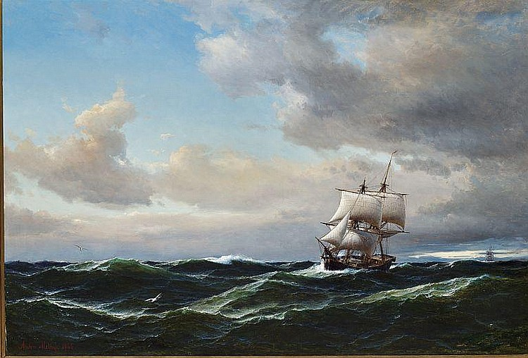 Anton Melbye: Seascape with dark clouds and high sea.