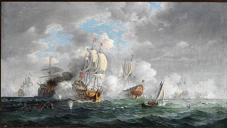 Viggo Fauerholdt: Naval battle in the time of Niels Juel.