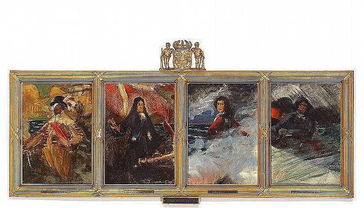 Harald Slott-Møller: Four historic sketches with the Danish naval heroes Christian IV, Niels Juel, Tordenskjold (Peder Wessel) and a Danish fisherman.