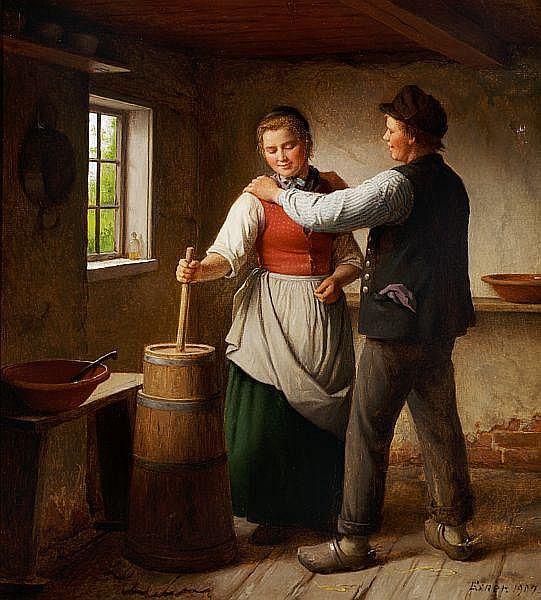 Julius Exner: Flirting young couple in a farmhouse interior.