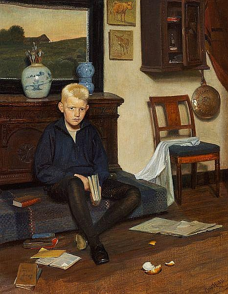 Otto Haslund: A  boy reading.