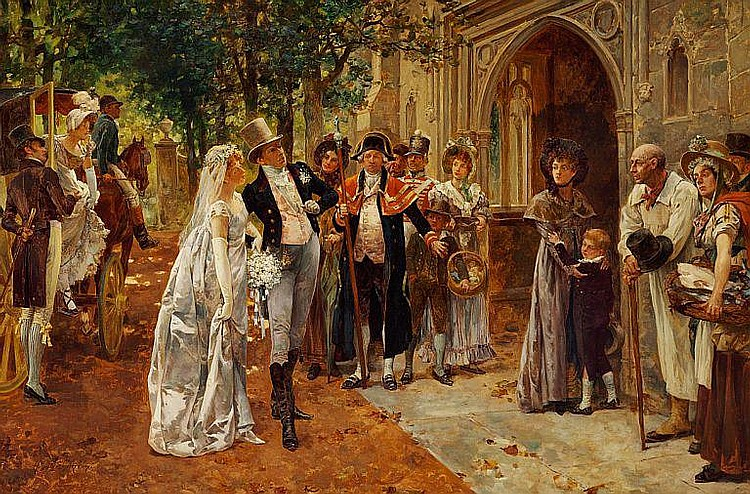 Henry Gillard Glindoni: A young couple on the way to their wedding.