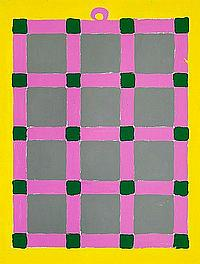 Poul Gernes: Composition with squares, c. 1977-1978. Indicated on the reverse Poul Gernes. Alkyd enamel on board. 125 x 93 cm.
