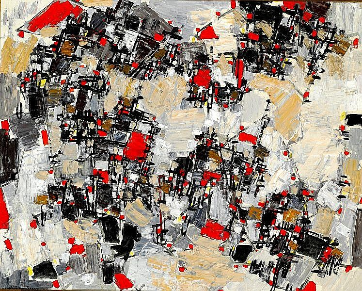 Natalia Dumitresco: Composition. Signed. N. Dumitresco. Oil on canvas. 65 x 81 cm.