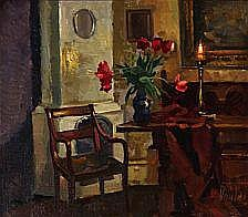 Mogens Vantore: Interior. Signed Vantore. Oil on