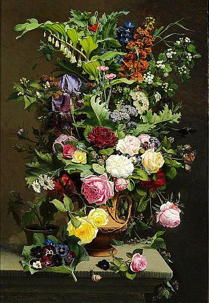 O. D. Ottesen: Still life with roses and summerflowers.