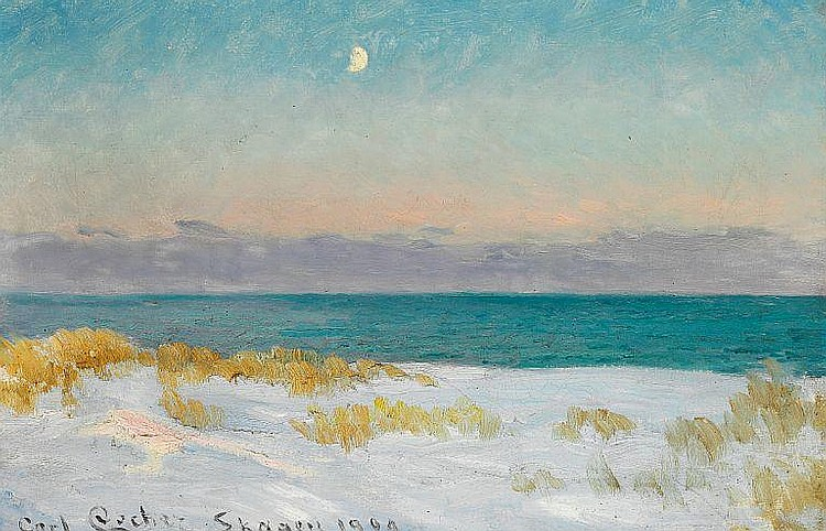 Carl Locher: Sand dunes with rising moon, Skagen Beach.