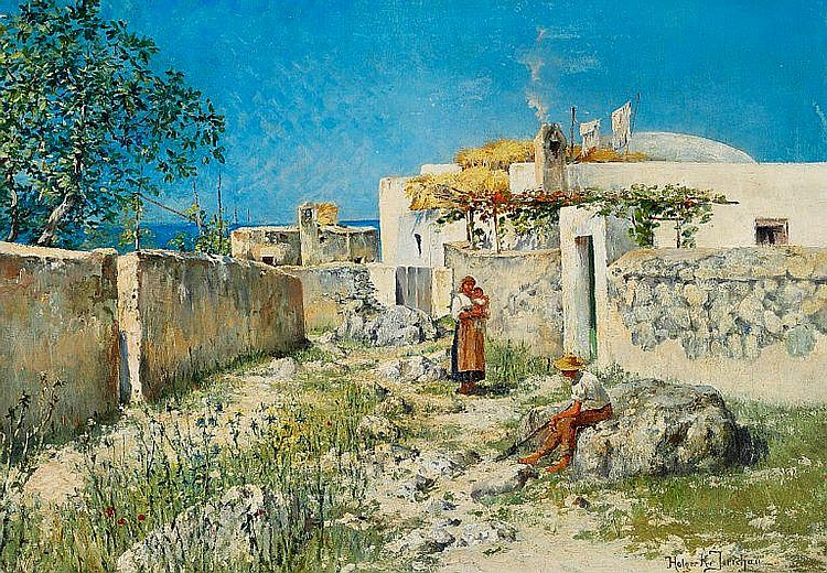 Holger H. Jerichau: Young couple with their child outside a house, presumably Capri.