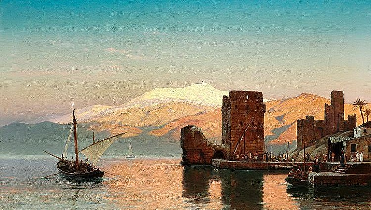 Carl Neumann: Evening light in a harbour, presumably from Northern Africa.