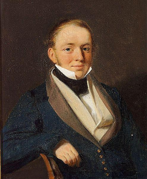Wilhelm Bendz: Portrait of Jacob Hoskiær, sea captain (1808-1836).