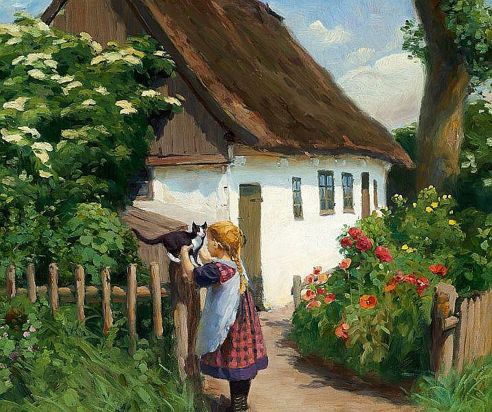 H. A. Brendekilde: Summer day in the village with a little girl and a kitten.