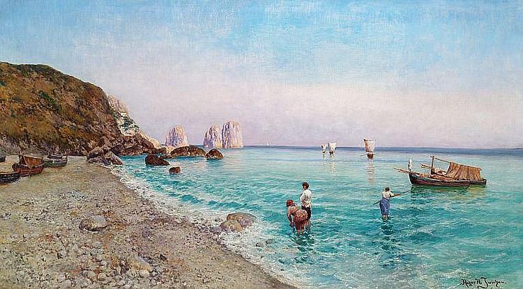 Holger H. Jerichau: View of Marina Piccola, Capri.