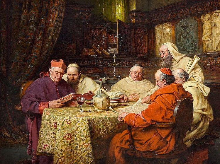 Richard Linderum: Interior with learned monks studying.
