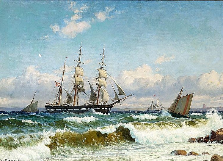 Christian Blache: Bark and pilot boat off the coast in stormy weather.