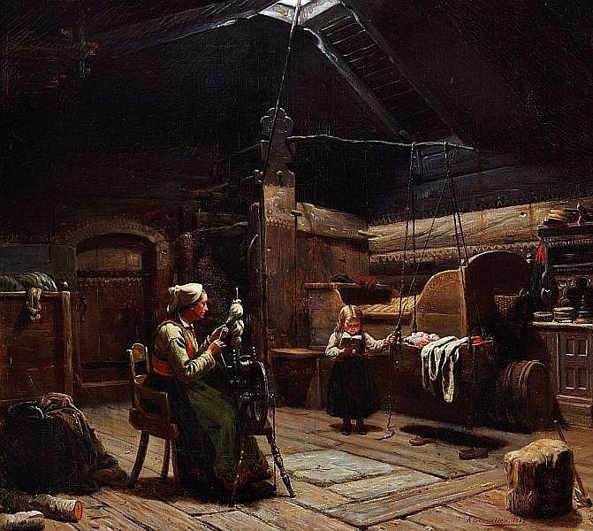 Knud Larsen Bergslien: Interior from a Norwegian hut with a mother at the spinning wheel and a girl rocking her little brother.