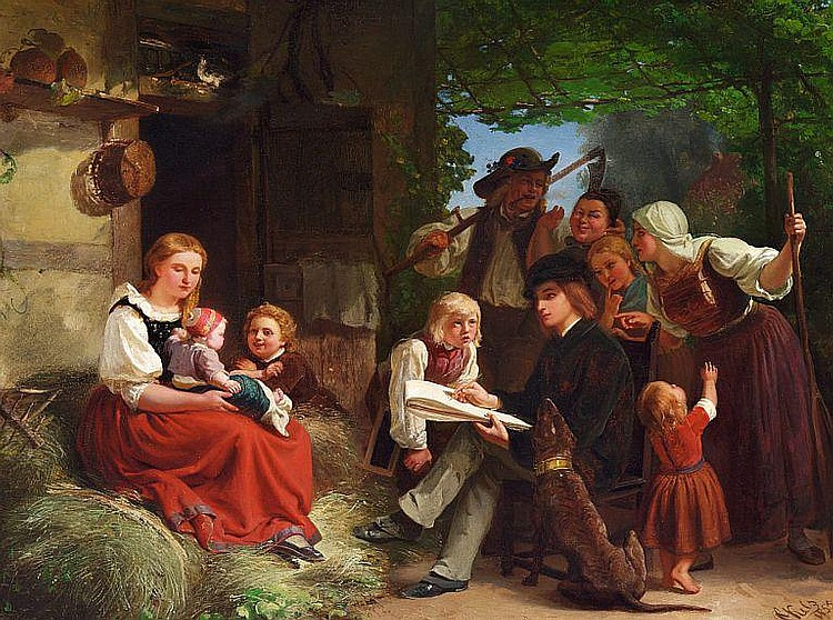 Franz Kels: The young painter is portraying a mother and her child in the village.