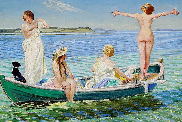 Harald Slott-Møller: Girls in a green rowing boat on a summer day.