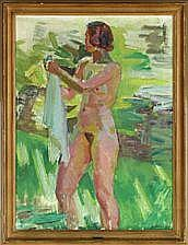 Knud Ove Hilkier: A young woman. Signed K. O.