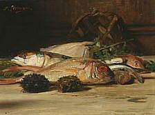 Denis Etcheverry Still life with fish. Signed