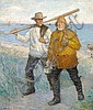 Albert Petersen: Two fishermen homeward bound in the evening sun., Albert Petersen, Click for value