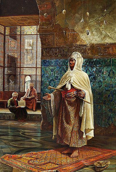 Rudolf Ernst, style of, 19th-20th century: An Arab praying in the mosque.