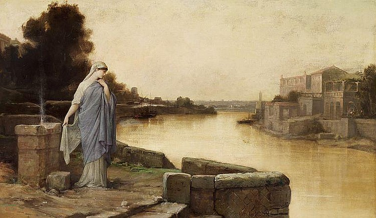 Louis Hector Leroux: A Vestal at the bank of the Tiber in Rome.
