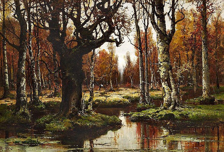 Julius Sergius von Klever: Quiet autumn day in a Russian birch forest.