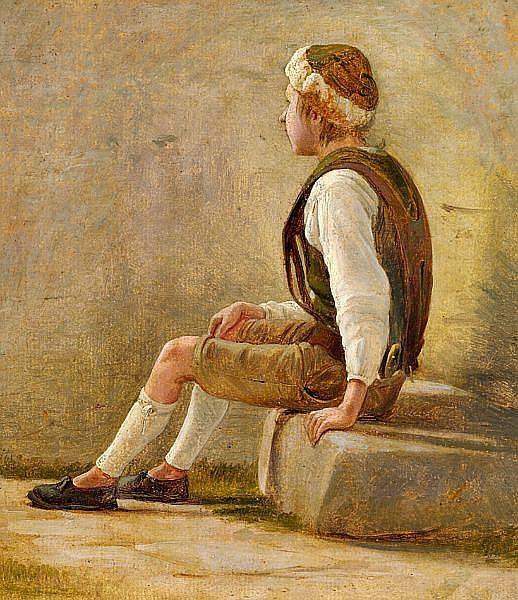 Wilhelm Bendz: A shepherd boy.