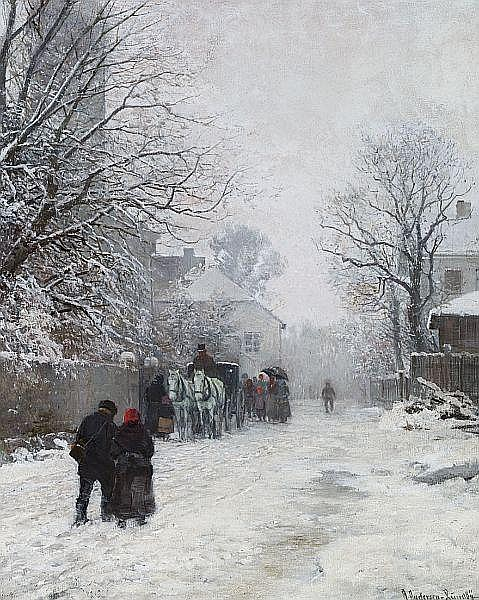 A. Andersen-Lundby: View of a street on the outskirts of Munich, winter.