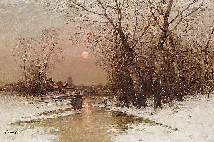 Johann Jungblut: Sunset on a winter day.