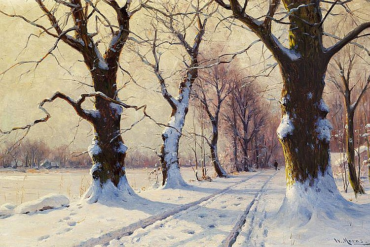 Walter Moras: Winter scene with a man walking in the woods.
