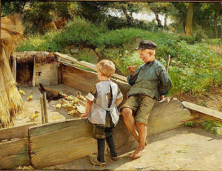 Edvard Petersen: Little children watching the ducklings.