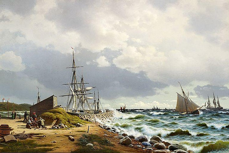 Christian Eckardt: Coastal view with numerous sailing ships at sea.