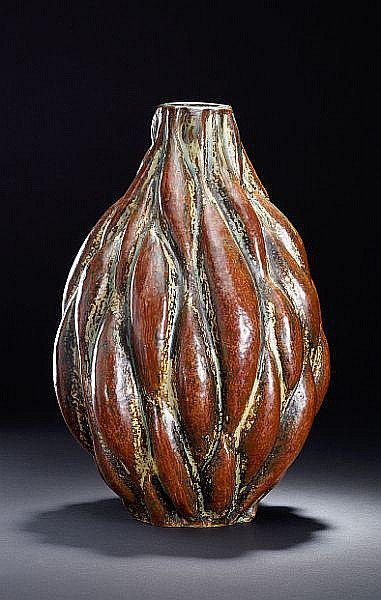 Axel Salto: Stoneware vase modelled in sprouting style. Decorated with sung glaze. H. 39,5 cm.