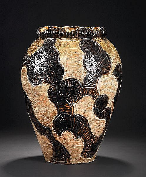 Thorvald Bindesbøll: A very rare PAIR of monumental unique earthenware vases. Enchased with scratched typical Bindesbøll pattern in light relief. H. 51 cm. (2)