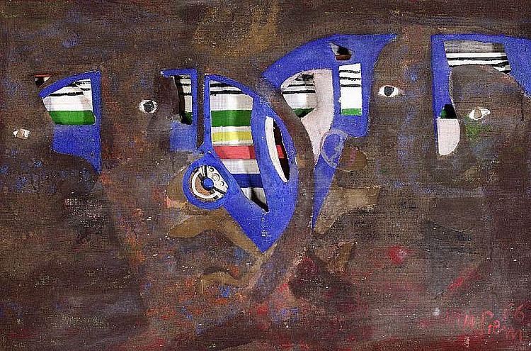 Heimrad Prem: Composition. Signed H. Prem 66. Oil on canvas, collage and relief. 89 x 134 cm.