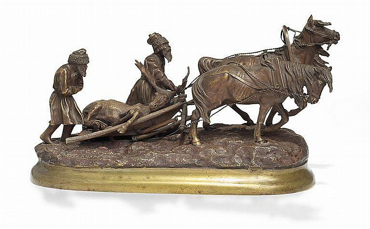 Evgeny Ivanovich Naps: Russian patinated bronze sculpture with riders and a horse-drawn sledge. C. F. Woerfell Foundry. H. 17 cm. L. 31 cm.