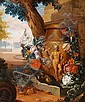 Jan  Weenix, ascribed to: Palace garden. In the foreground a monument with a vase.