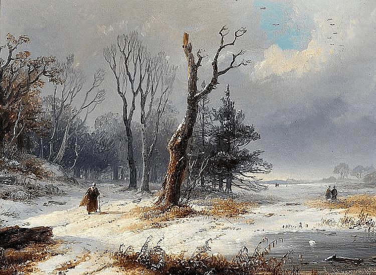 Remigius Adrianus van Haanen: Winter landscape with figures.