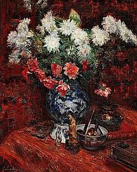 Isaac Michael Cohen: Still life with flowers in a faience vase.