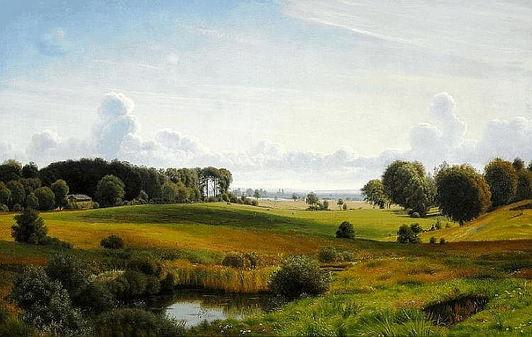 Vilhelm Kyhn: View of Eremitagesletten, in the background Øresund and the Swedish coast.