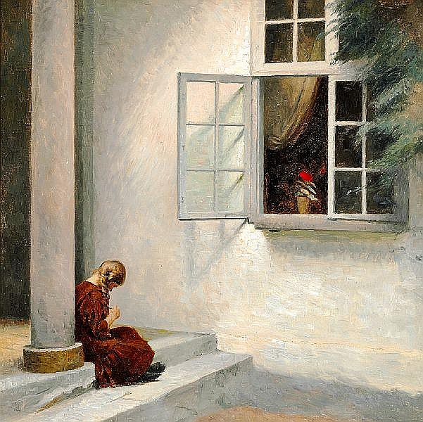 Peter Ilsted: Little girl by a pillar at Liselund.