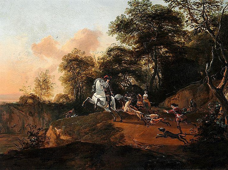 Abraham Danielsz Hondius, ascribed to: Hunting scene with horses and dogs.