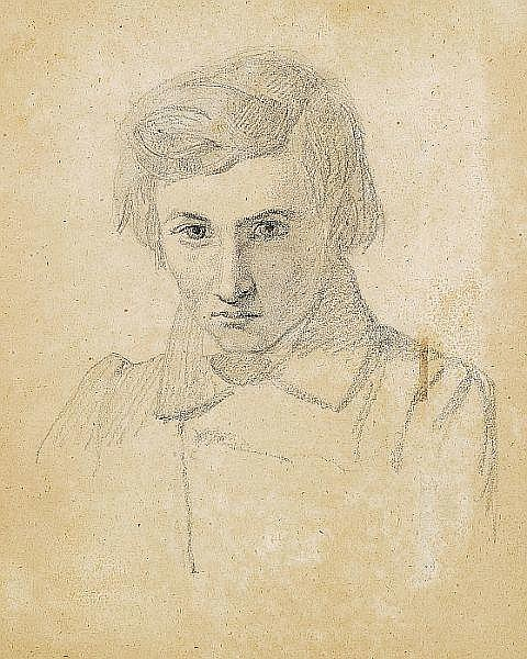 Johan Thomas Lundbye: Portrait. Presumably a self-portrait.